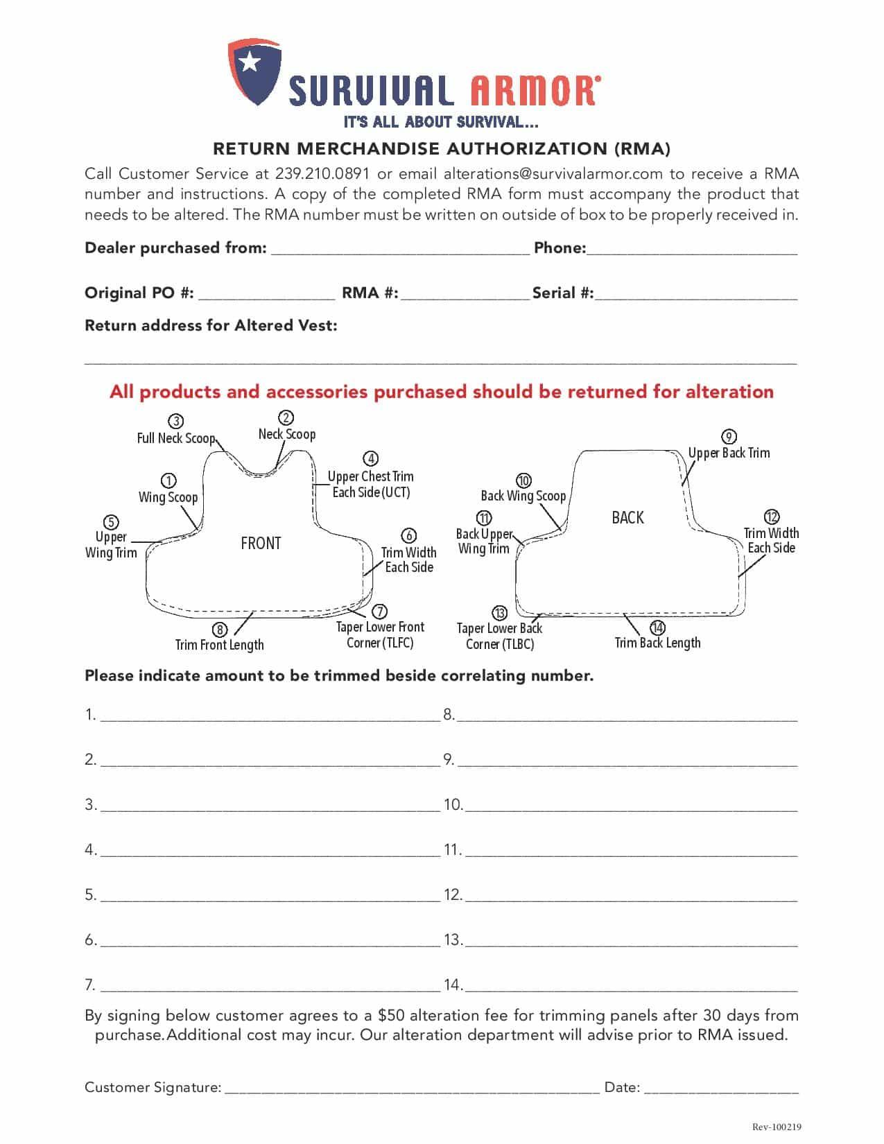 SA 2019 RMA Form